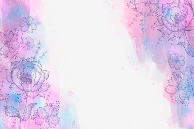 Aquarela com fundo de flores desenhado à mão