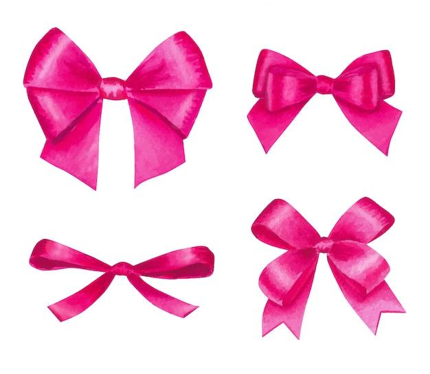 Aquarela com laços de cetim rosa coloridos, isolados no branco