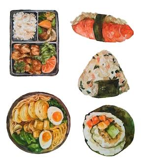 Aquarela comida japonesa