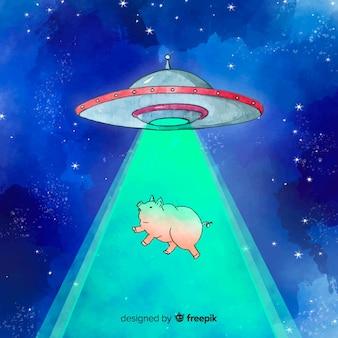 Aquarela conceito de abdução ufo