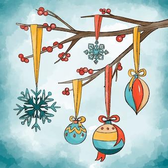 Aquarela conceito de decoração de natal
