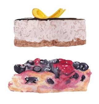 Aquarela conjunto bolo de banana e torta de frutas vermelhas com mirtilo e vista lateral de cereja