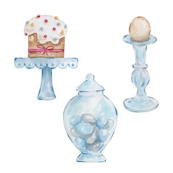 Aquarela conjunto bolo de páscoa pintado à mão em um suporte, um ovo em uma prateleira e um vaso de vidro com ovos.