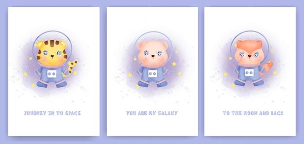 Aquarela conjunto de cartões do chá de bebê com animais fofos da galáxia.