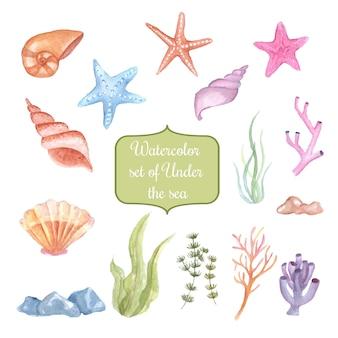 Aquarela conjunto de debaixo do mar