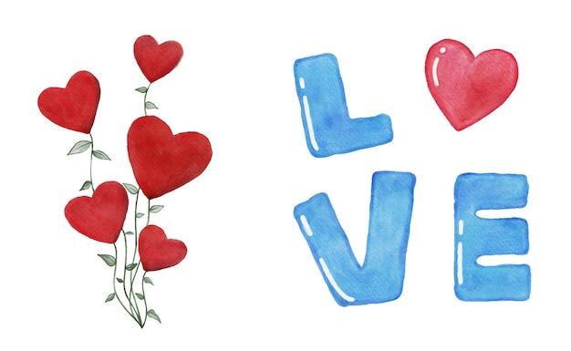 Aquarela conjunto de flores em forma de coração e a inscrição amor isolado no fundo branco dia dos namorados