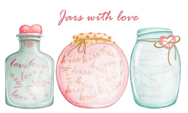 Aquarela conjunto de giros frascos com amor romântico