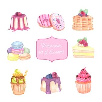 Aquarela conjunto de sobremesa, bolo e cupcake