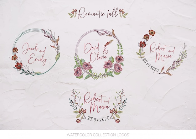 Aquarela conjunto logotipos de casamento