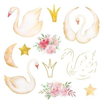 Aquarela conjunto tenros cisnes - um símbolo de amor único, um pássaro romântico e bonito com uma coroa, lua, ouro e um buquê de rosas delicadas. ilustração isolada no fundo branco.