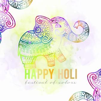 Aquarela cores vivas holi festival gradiente elefante