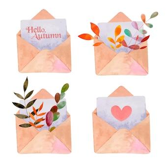 Aquarela cravejada de envelopes e folhas brilhantes de outono