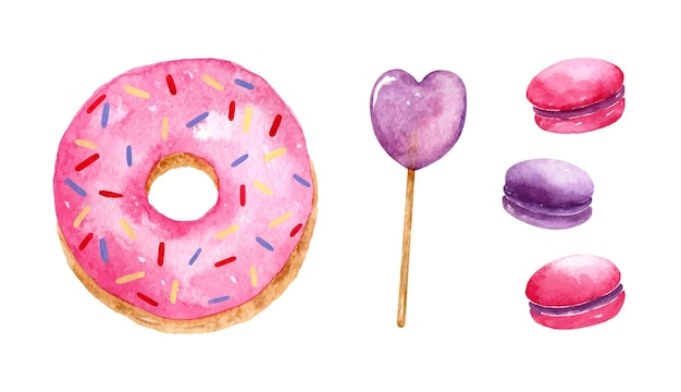 Aquarela cravejada de sobremesa rosa e roxa com granulado, pirulito em forma de coração e macaroons