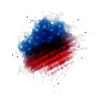 Aquarela da bandeira de américa