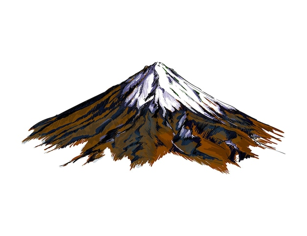 Aquarela da montanha em branco
