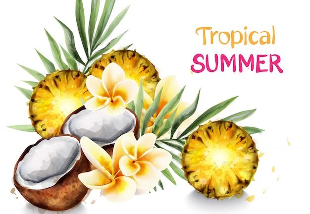 Aquarela de abacate e abacaxi