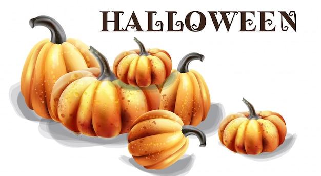 Aquarela de abóboras de halloween. balões e decorações de chapéus
