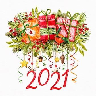 Aquarela de ano novo de 2021
