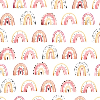 Aquarela de arco-íris fofo padrão sem emenda, cores pastel Vetor Premium