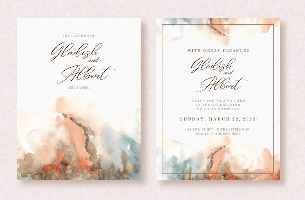 Aquarela de arte linda splash abstrata no modelo de cartão de casamento