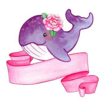 Aquarela de baleia bebê menina