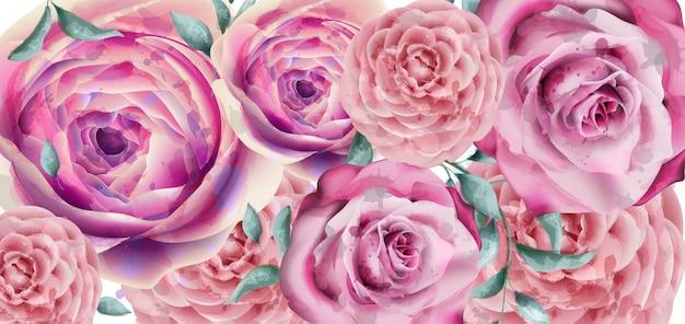 Aquarela de banner de flores de primavera
