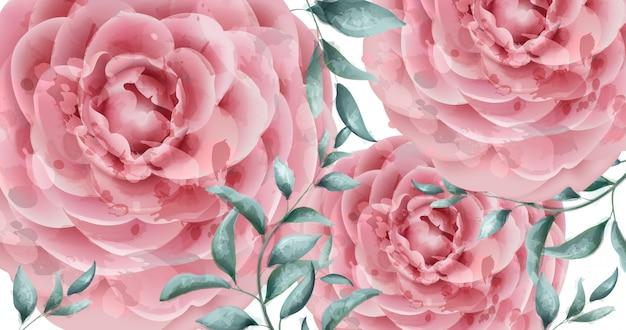 Aquarela de banner de flores rosa delicada