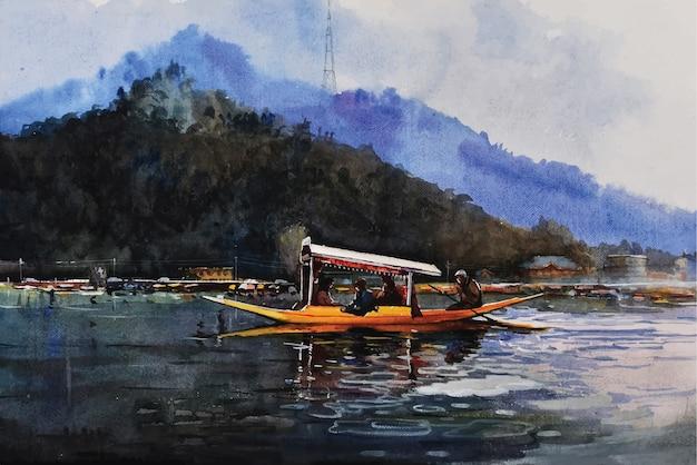 Aquarela de barco de pesca na água do mar com um lindo céu azul desenhado à mão.