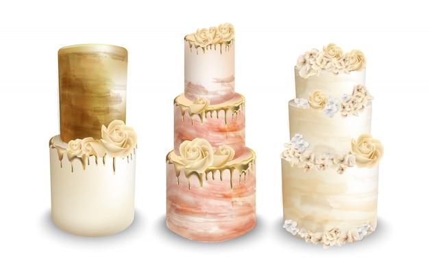 Aquarela de bolos de casamento