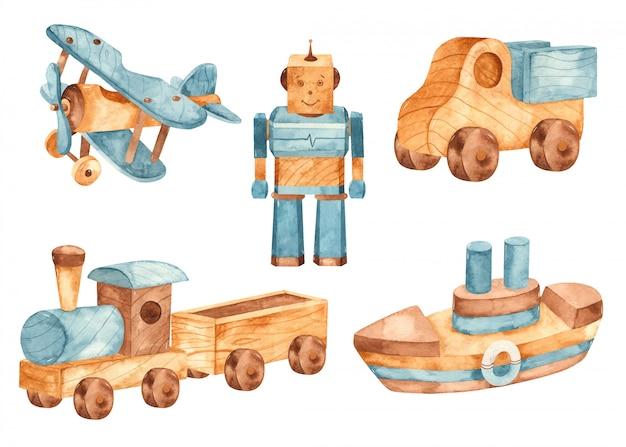 Aquarela de brinquedo de madeira. avião, trem, carro, navio, robô