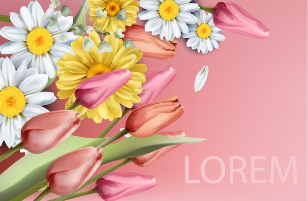 Aquarela de buquê de flores daisy e tulipas
