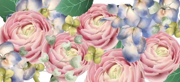 Aquarela de buquê de rosas delicadas