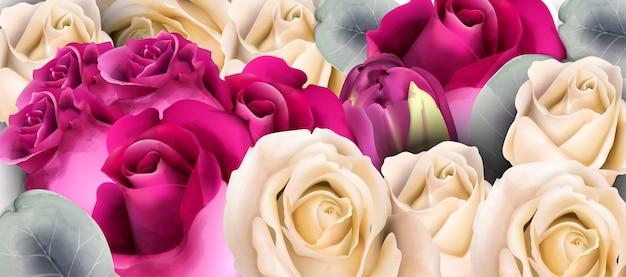 Aquarela de buquê de rosas