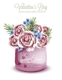 Aquarela de buquê delicado de rosas