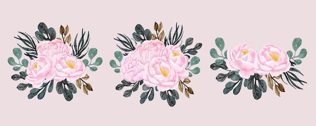 Aquarela de buquê floral de peônias
