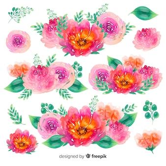 Aquarela de buquês de flores pequenas coloridas