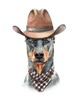 Aquarela de cachorro doberman com traje.