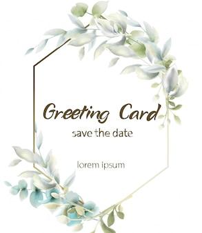 Aquarela de cartão boho de folhas verdes. rodada de verão e saudações botânicas verticais