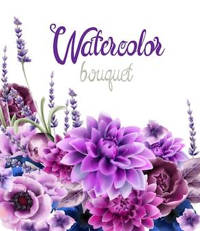 Aquarela de cartão de buquê de flores de outono