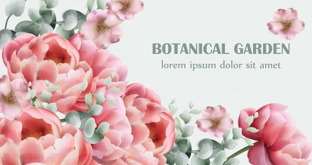 Aquarela de cartão de buquê de flores de peônia