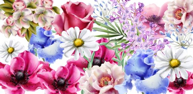 Aquarela de cartão de buquê de flores de primavera