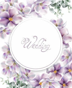 Aquarela de cartão de casamento de flores de cerejeira