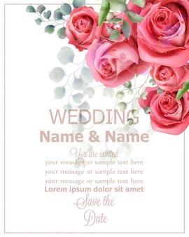 Aquarela de cartão de casamento de flores rosa