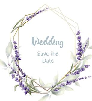 Aquarela de cartão de casamento lavanda