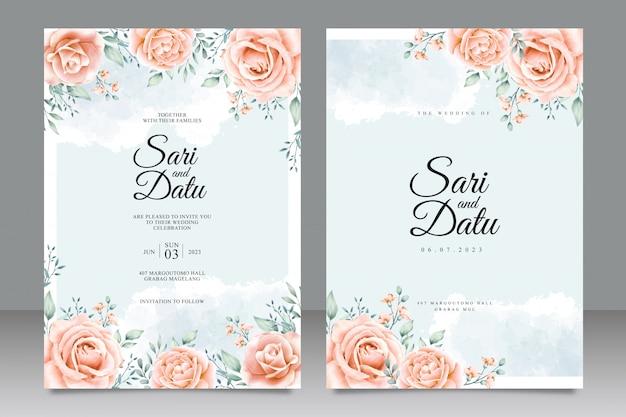 Aquarela de cartão de convite de casamento de jardim de flor