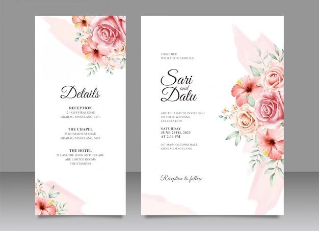 Aquarela de cartão de convite de casamento lindo buquê floral