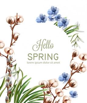 Aquarela de cartão de flores de algodão