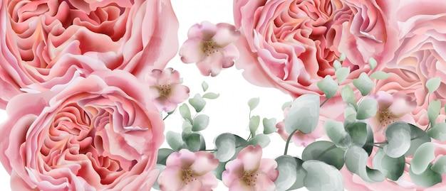 Aquarela de cartão de flores de peônia
