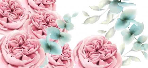 Aquarela de cartão de flores peônia. decorações florais rosa delicadas