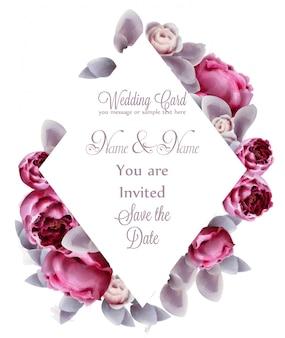 Aquarela de cartão de flores rosa peônia